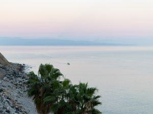Palmut ja meri iltaväreissä